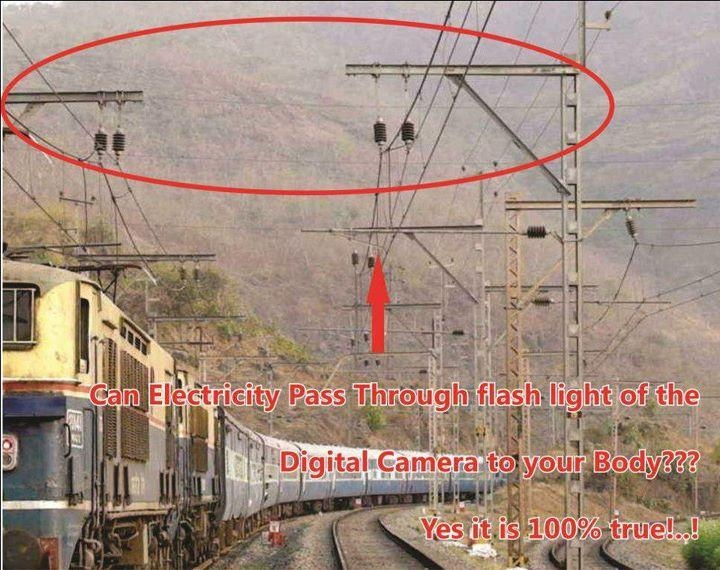 Picture about: Can ELECTRICITY pass through Flash light of the Digital camera to your body