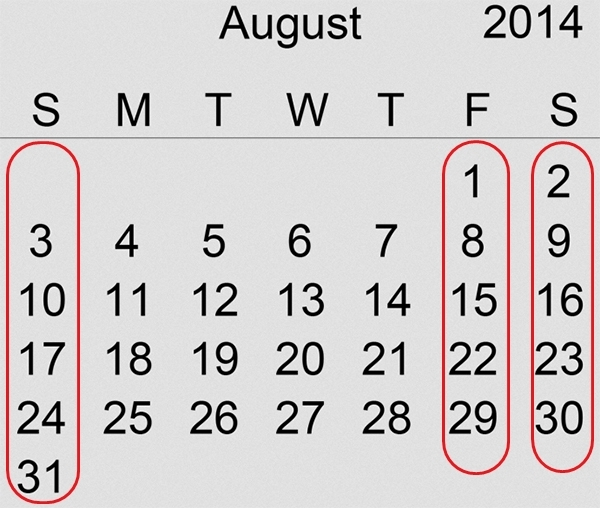 Picture: Rare Occurrence, 5 Fridays, 5 Saturdays and 5 Sundays in August 2014