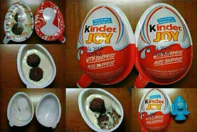 Picture Suggesting Kinder Joy Contains Wax Coating that Can Cause Cancer