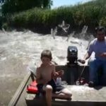 Video grab Showing Jumping Asian Carp Fish Attacking Boaters