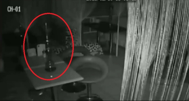 Picture about Ghost Throwing Hookah Pipes in Empty Bar in Moscow