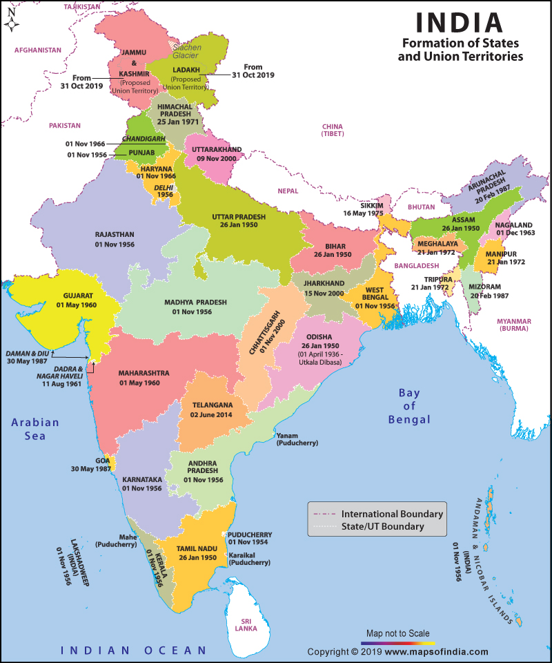 state maps of india New Updated India Map After Bifurcation Of Jammu Kashmir Fact Check state maps of india